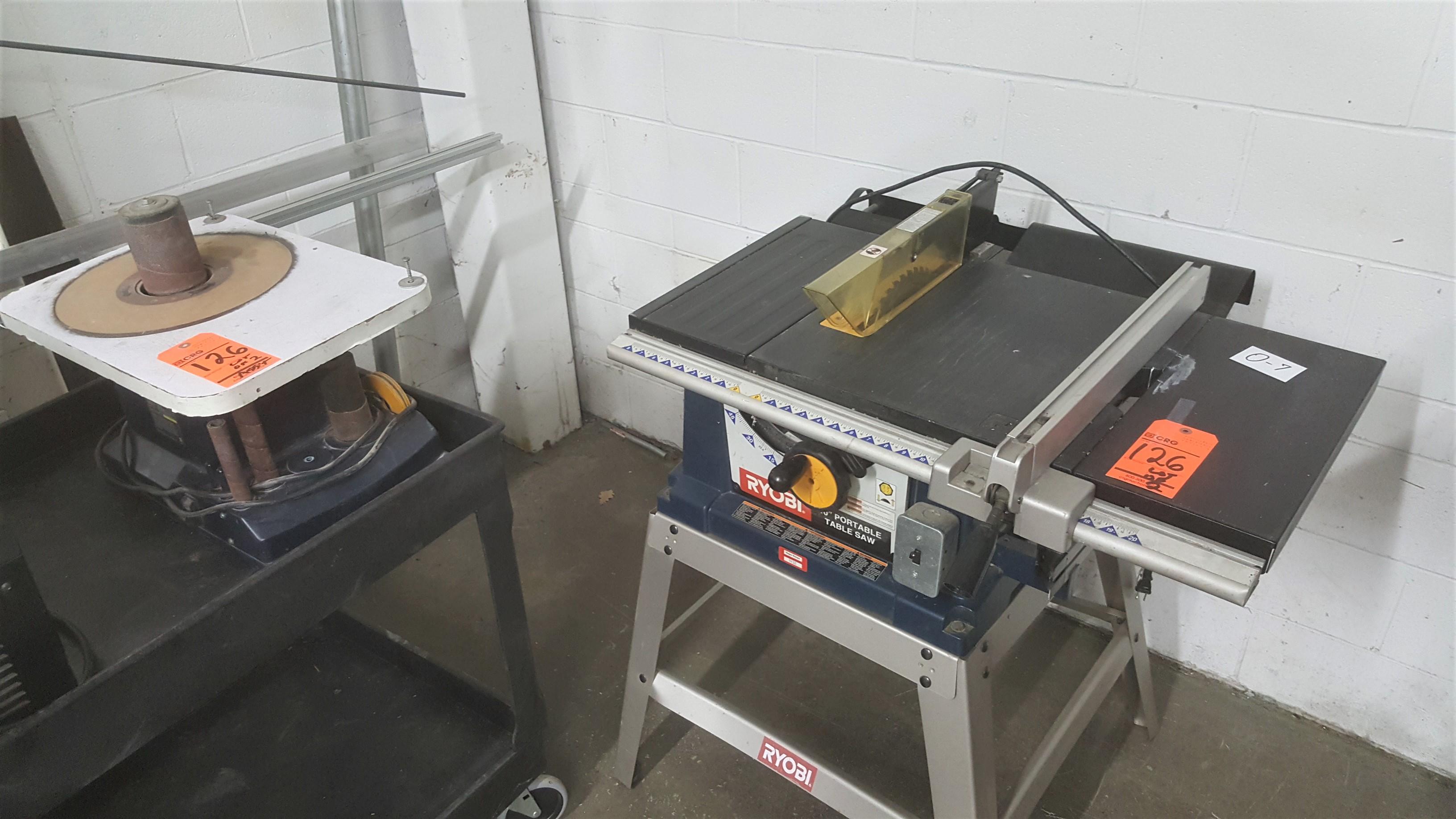 Lot 126 - RYOBI portable table saw mod.BTS-15 and spindle sander