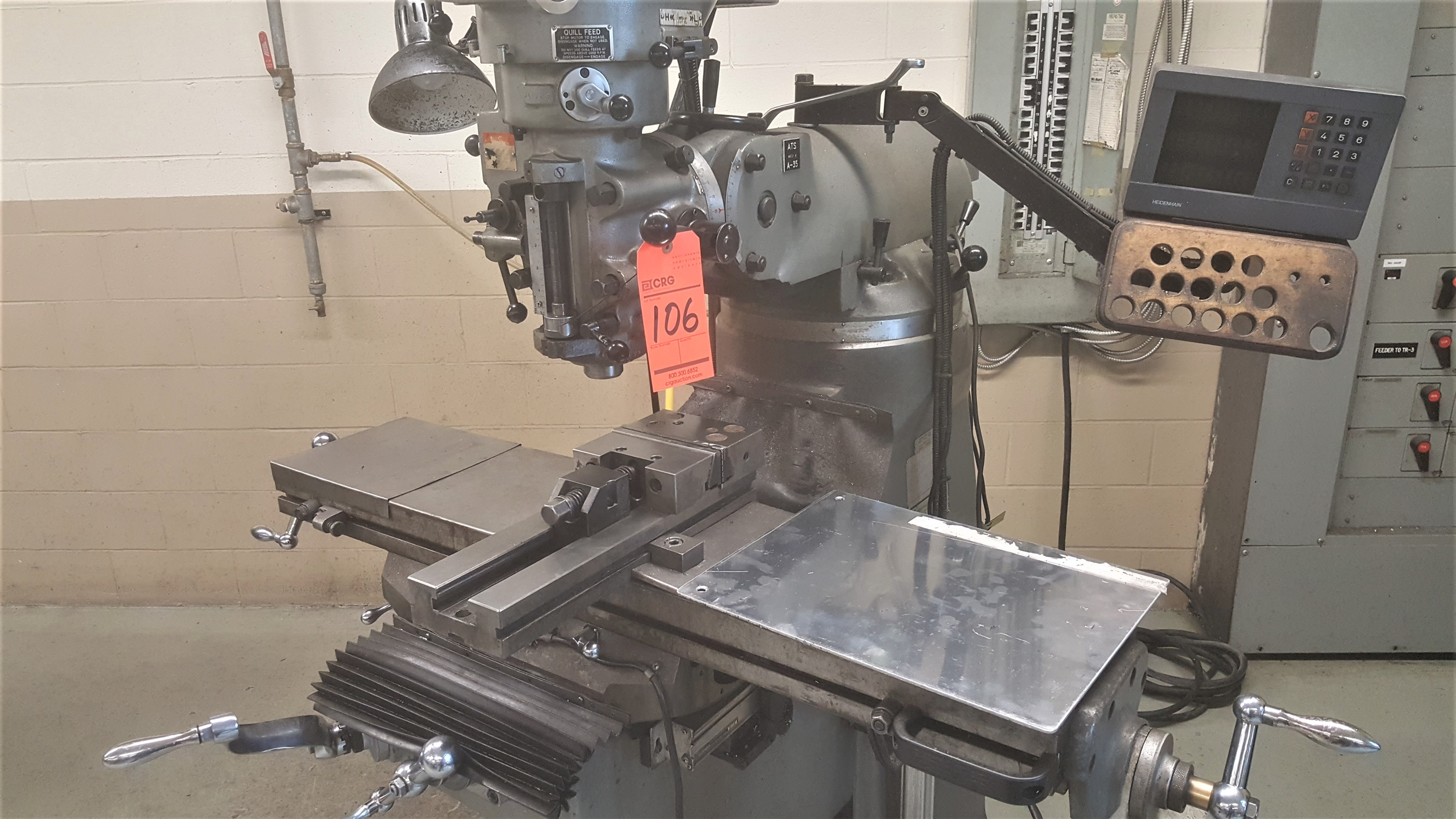 Lot 106 - FIRST 2.5 HP 3 PH vertical milling machine, servo-feed table, power draw bar, with DRO