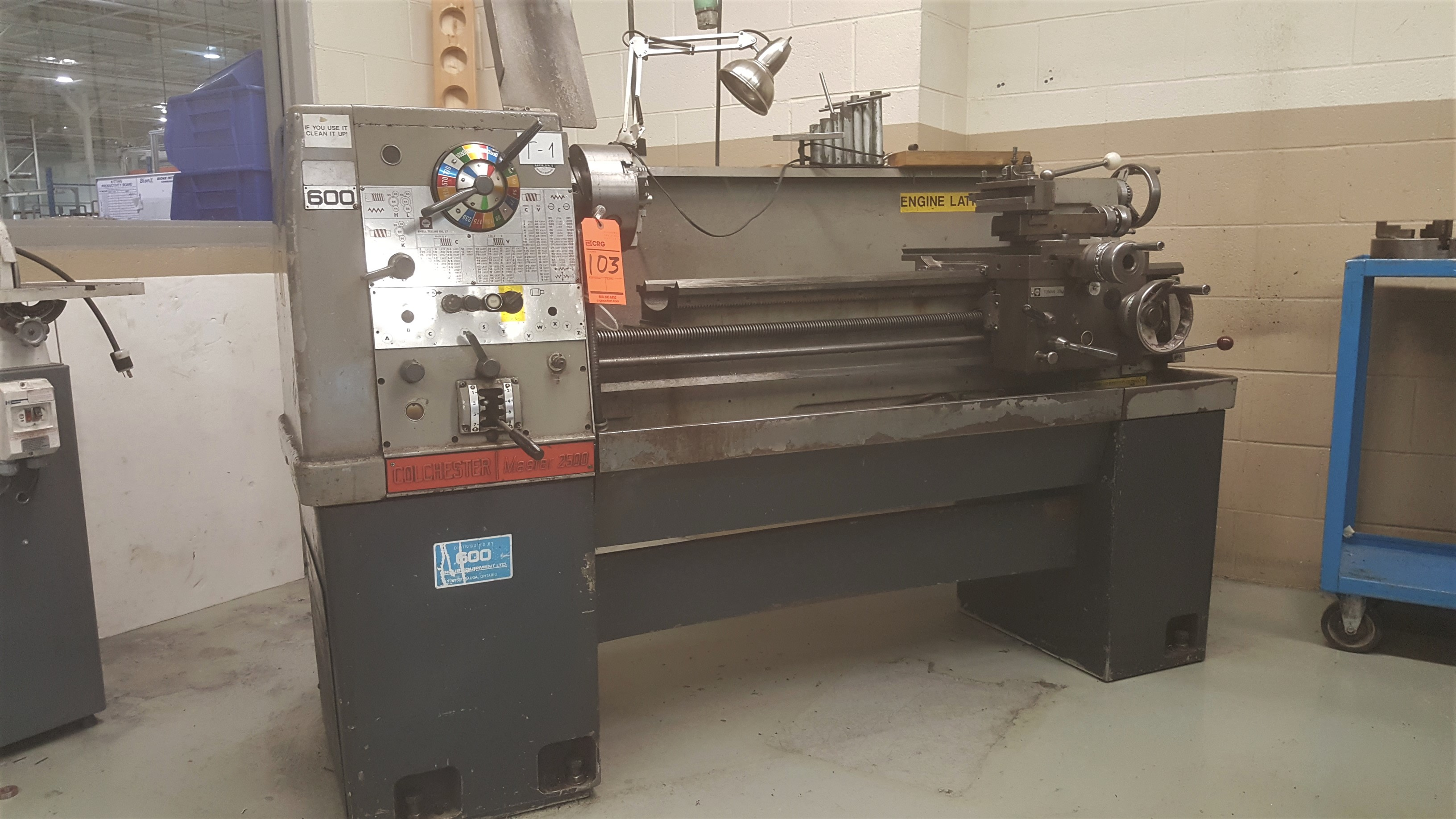 """Lot 103 - COLCHESTER Master 2500 engine lathe, 14"""" swing X 48"""" beween centers, 30 - 2500 RPM spindle speeds,"""