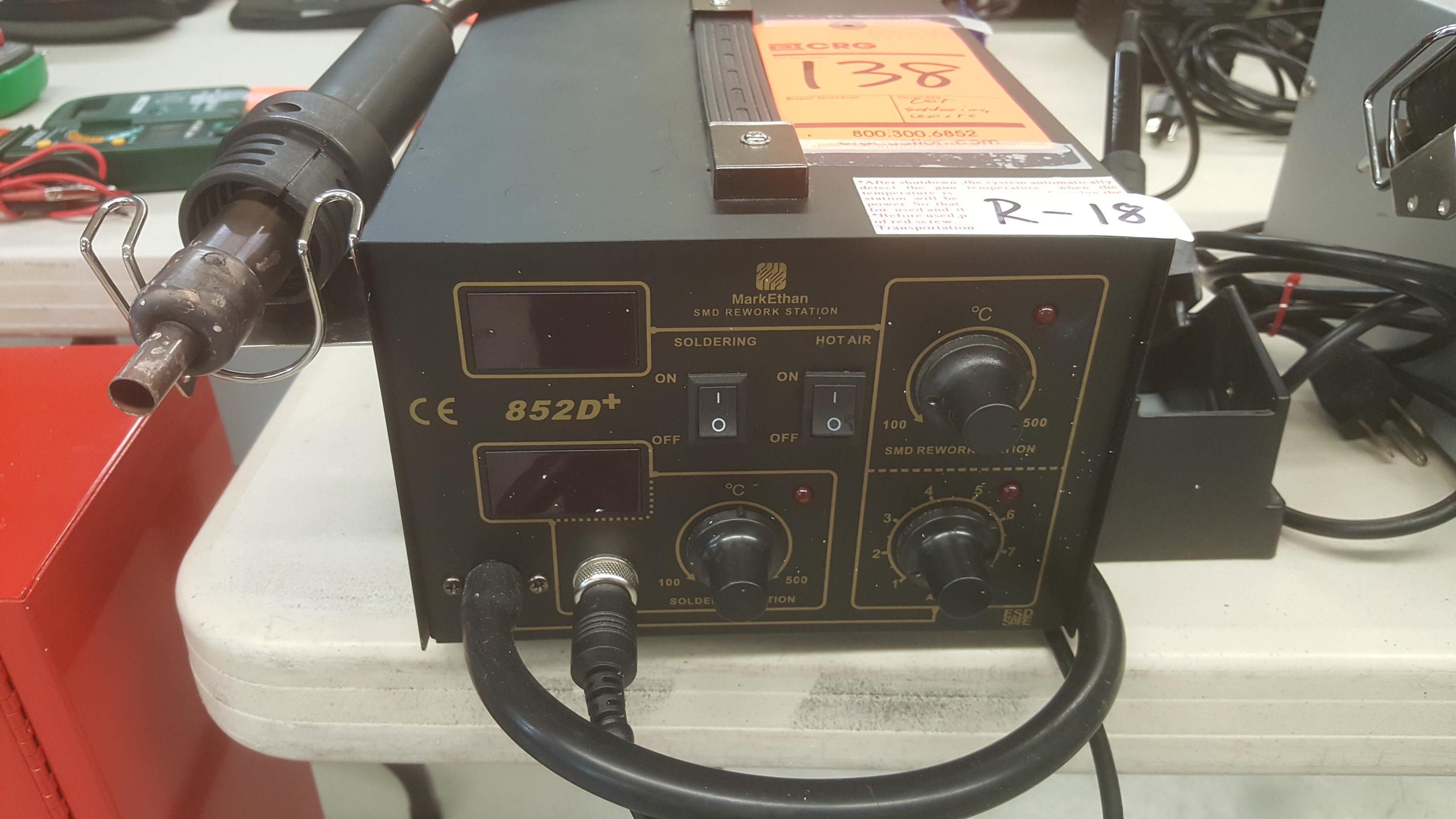 Lot 138 - (1) MARK ETHAN soldering rework station model.852D, (2) HAKKO 472D desoldering tools, (1) OKI hot