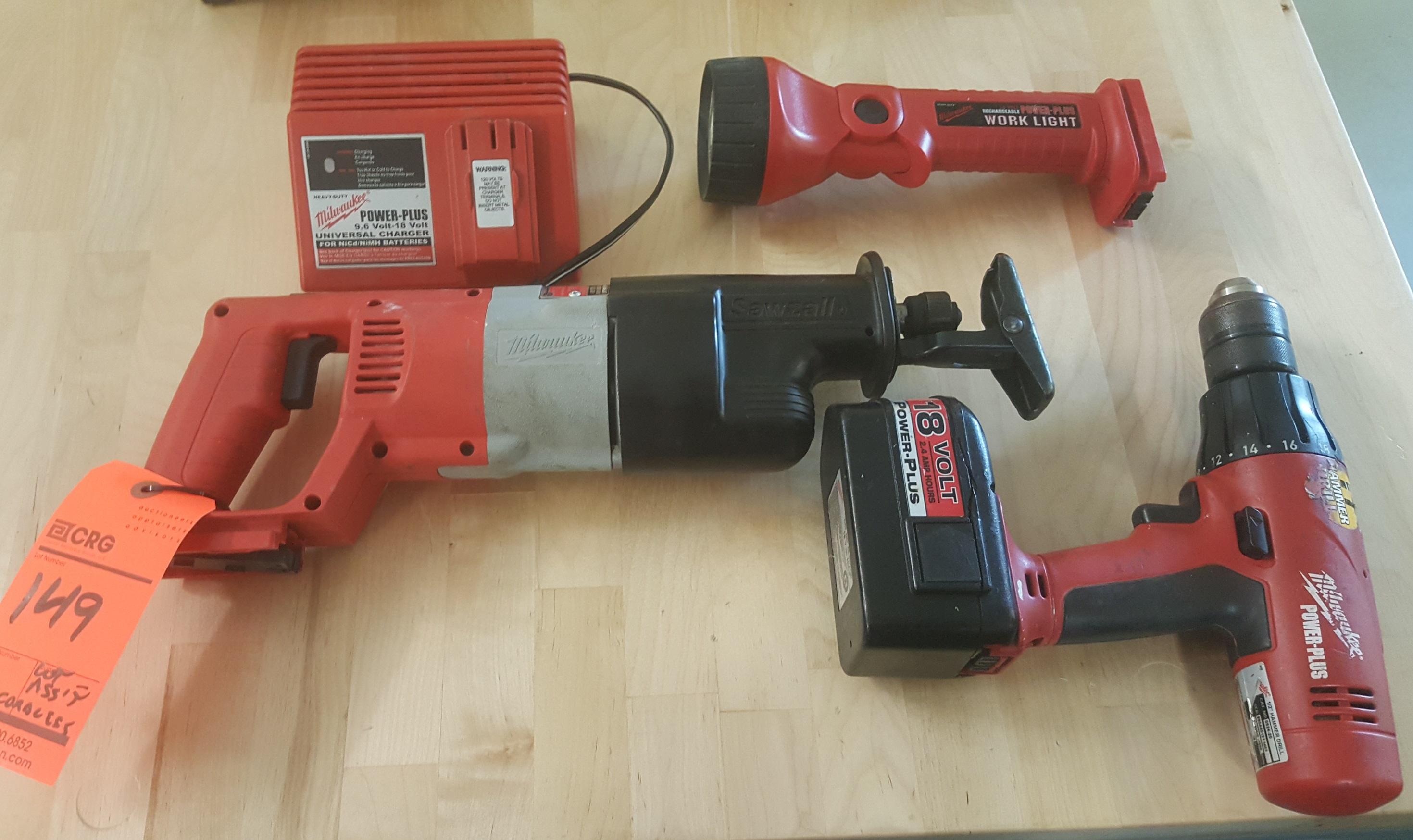 Lot 149 - MILAWAUKEE cordless Sawzall, MILWAUKEE cordless driver and MILWAUKEE flashlight with battery and