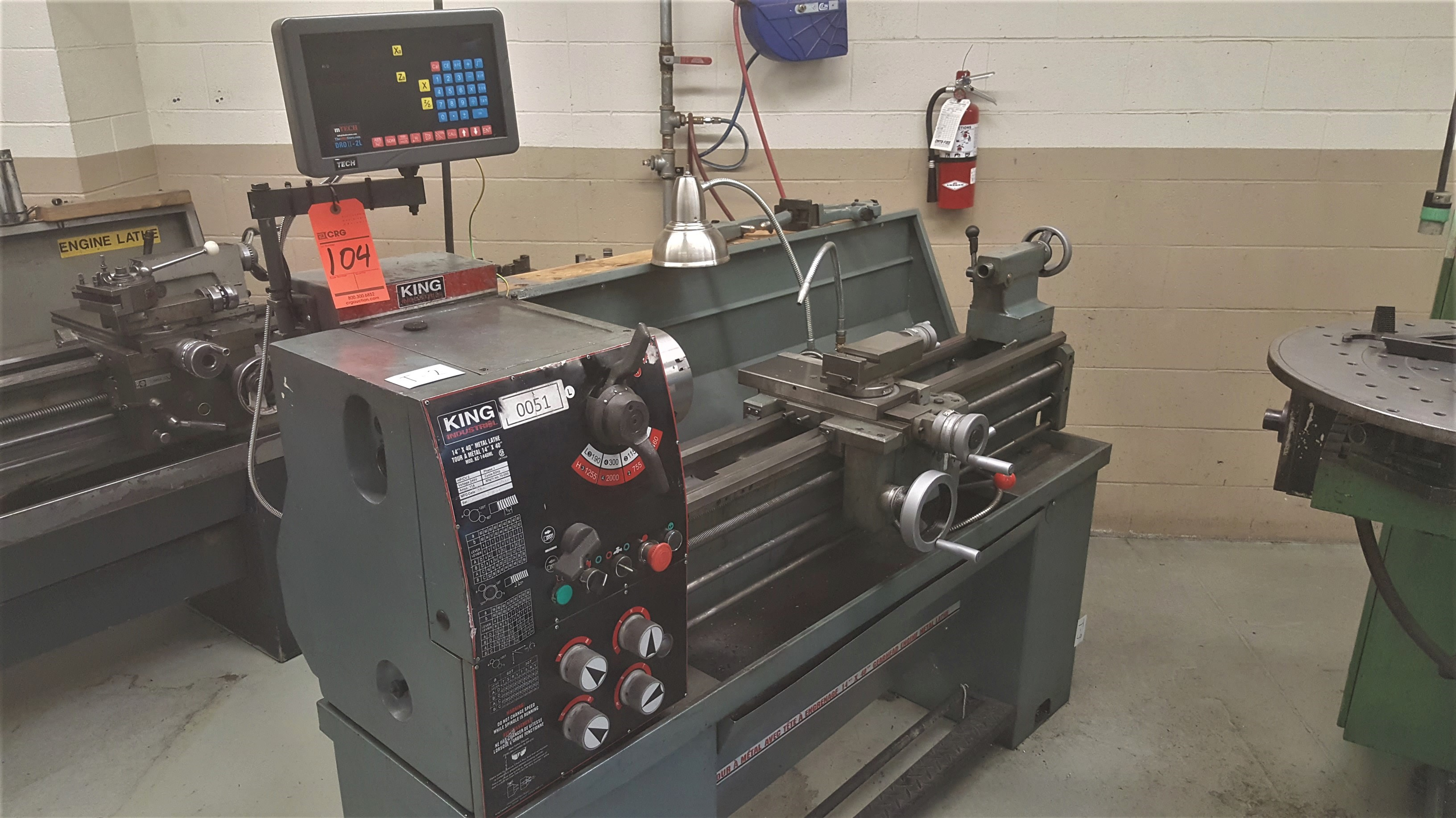 """Lot 104 - 2010 KING 1440 engine lathe, 14"""" swing X 40"""" between centers, 70 - 2,00 RPM spindle speeds, inch/"""
