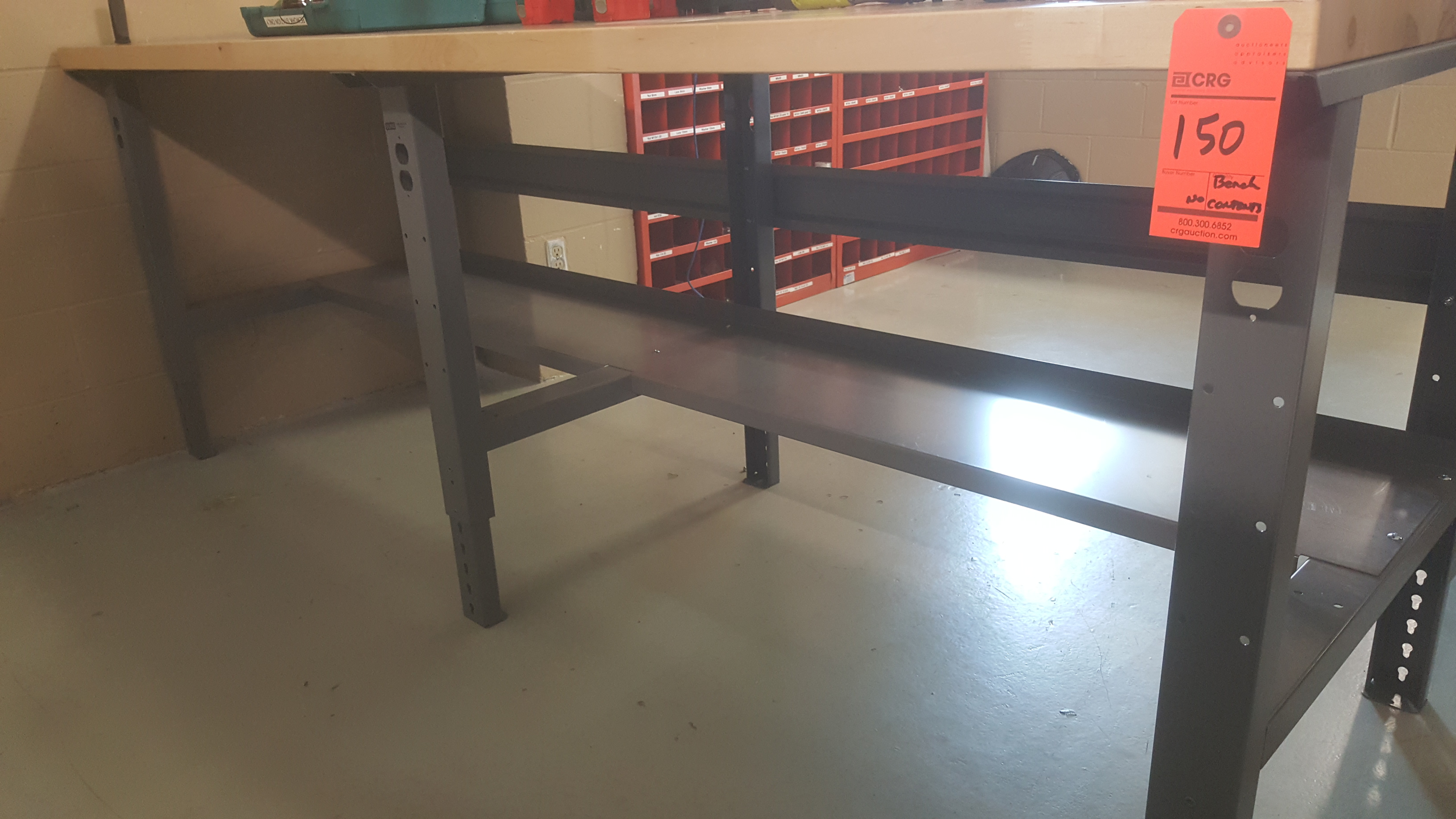 "Lot 150 - U-LINE steel frame maple top work table (96"" X 36"") with under shelf"