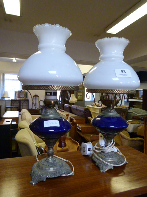 Lot 55 - Pair of Electric Oil Lamp Style Decorative Lights