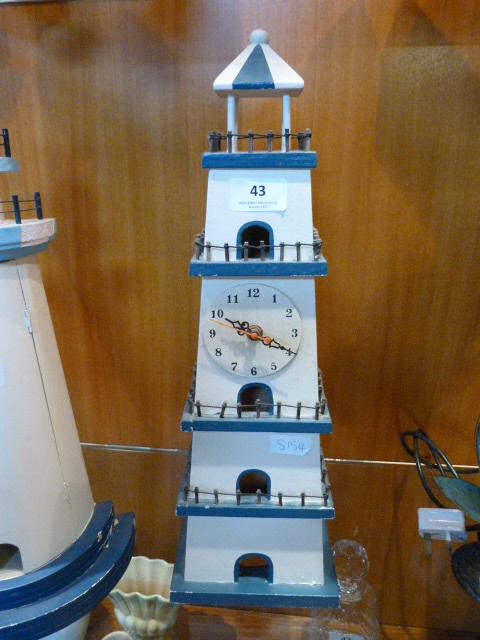 Lot 43 - Wood Lighthouse Clock