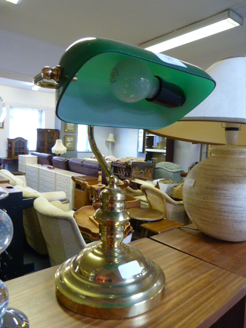 Lot 53 - Brass Desk Lamp with Green Glass Shade