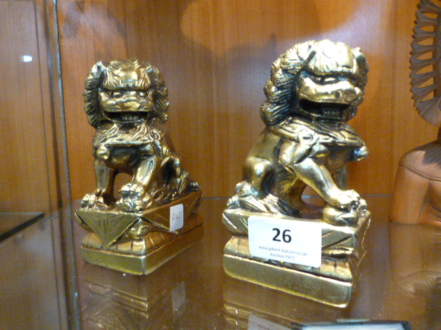 Lot 26 - Two Chinese Golden Dragon Figurines