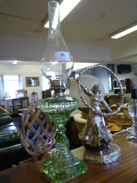 Lot 51 - Art Deco Style Lamp and a Decorative Oil Lamp