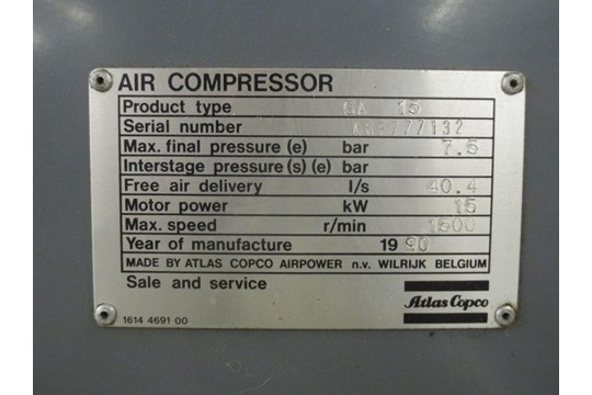 Lot 22 - Atlas Copco Air Compressor