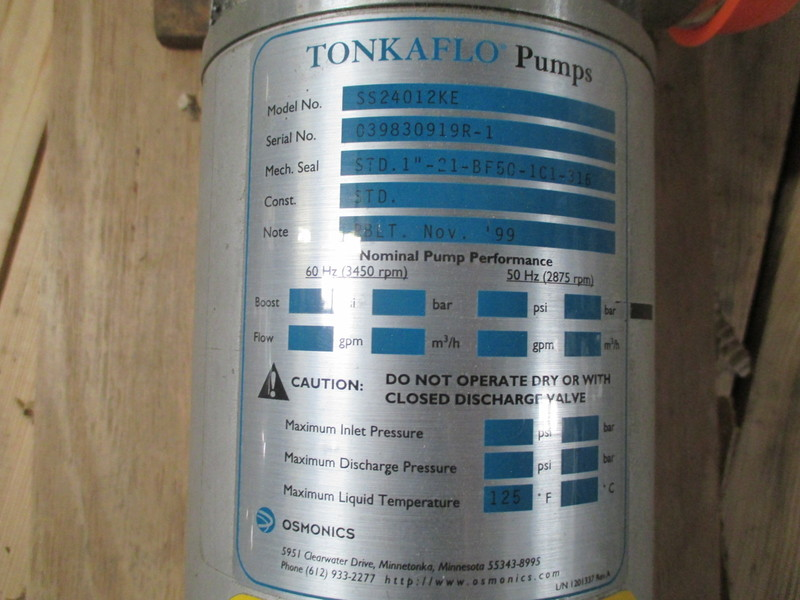 Lot 46 - GE Osmonics Tonkaflo RO System Pump