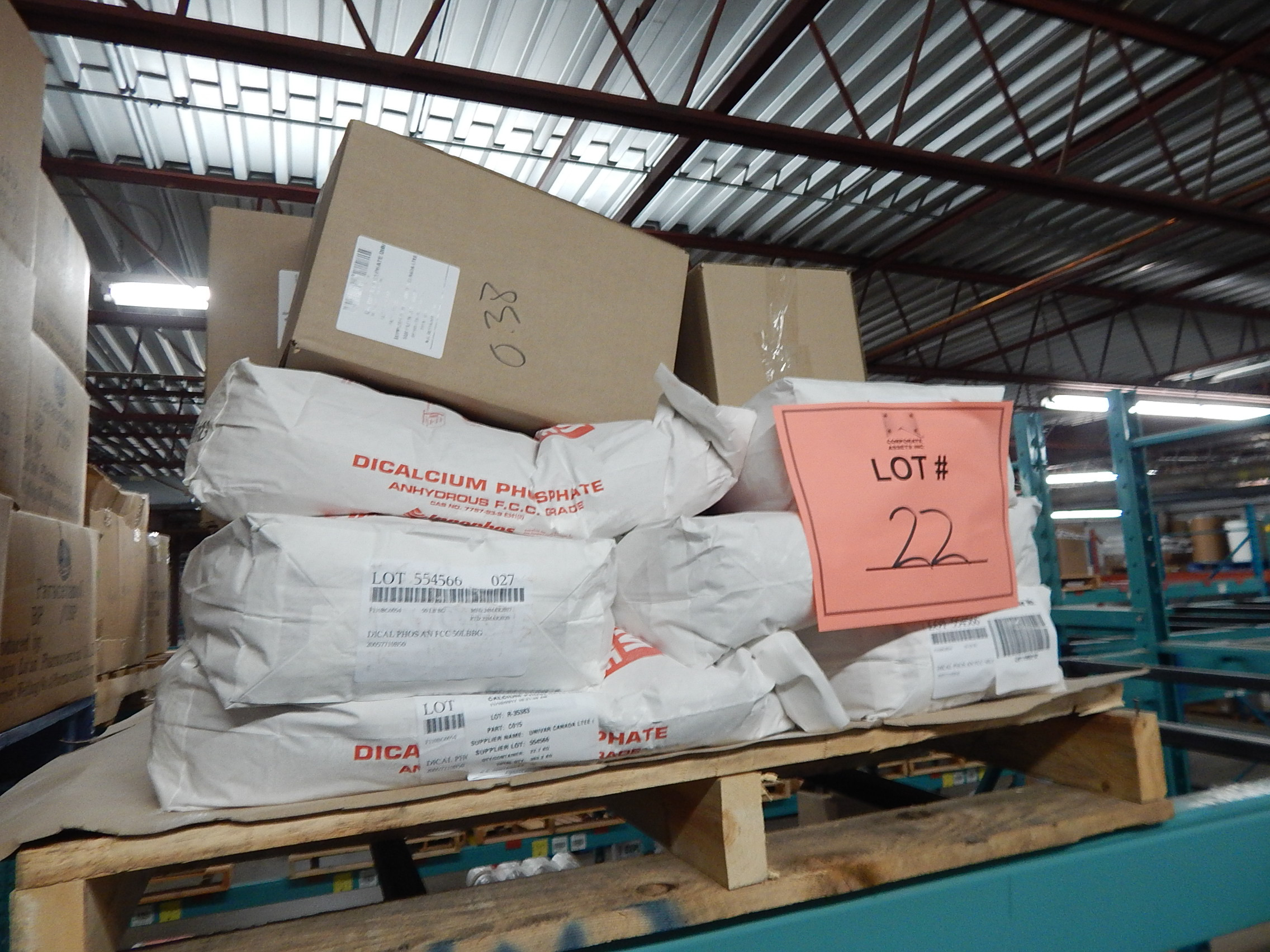 Lot 22 - LOT/ SKID WITH CONTENTS CONSISTING OF BAGS OF CALCIUM PHOSPHATE