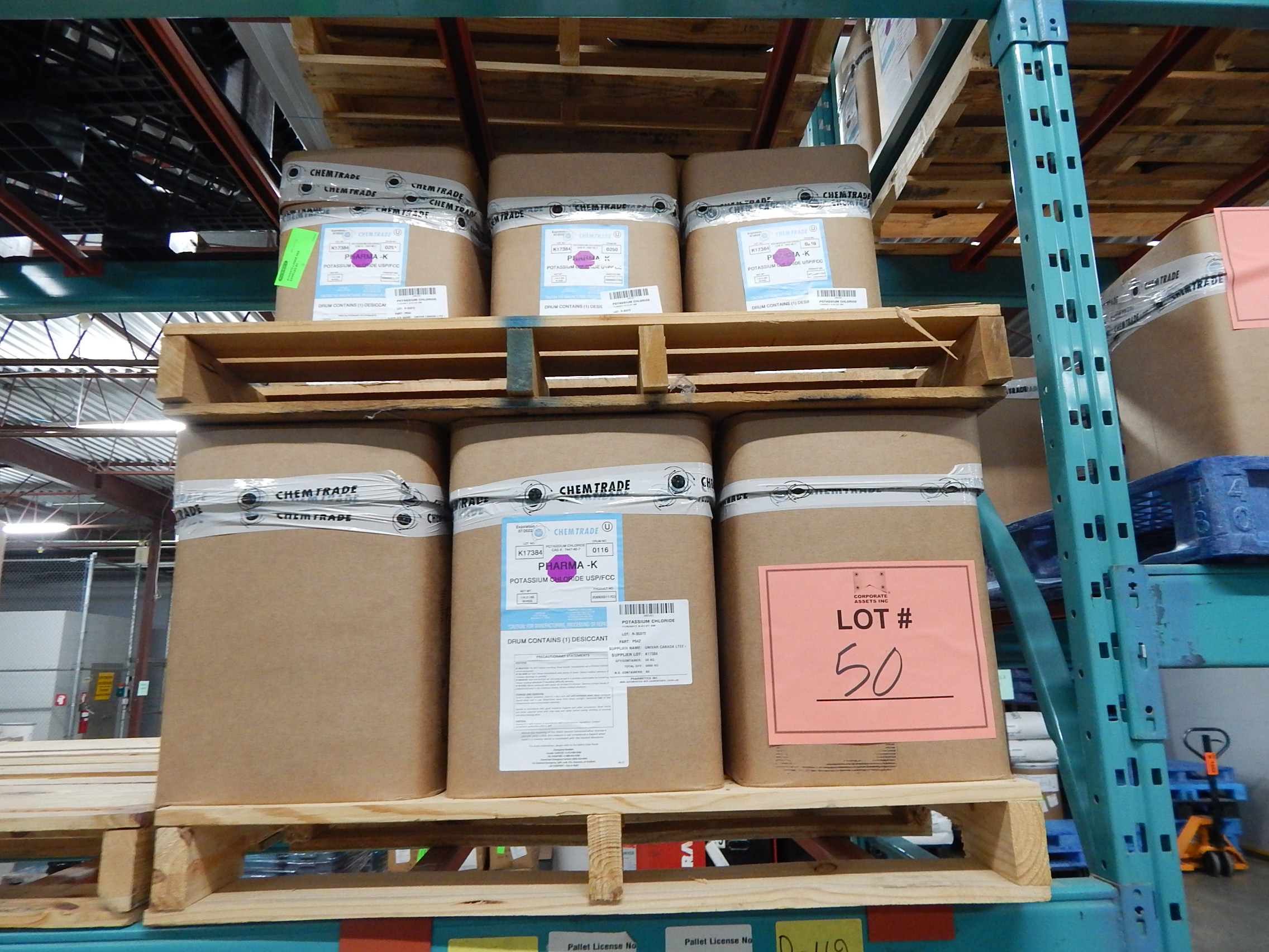 Lot 50 - LOT/ SKID WITH CONTENTS CONSISTING OF BOXES OF POTASSIUM CHLORIDE