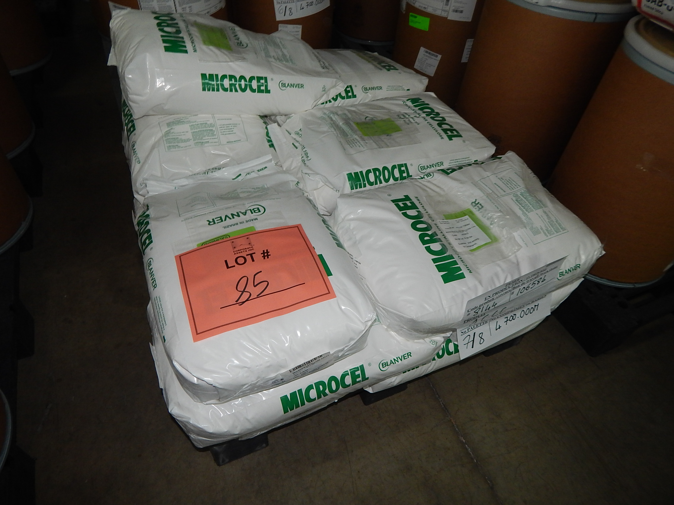 Lot 85 - LOT/ SKID WITH CONTENTS CONSISTING OF 33LBS BAGS OF MICROCRYSTALLINE