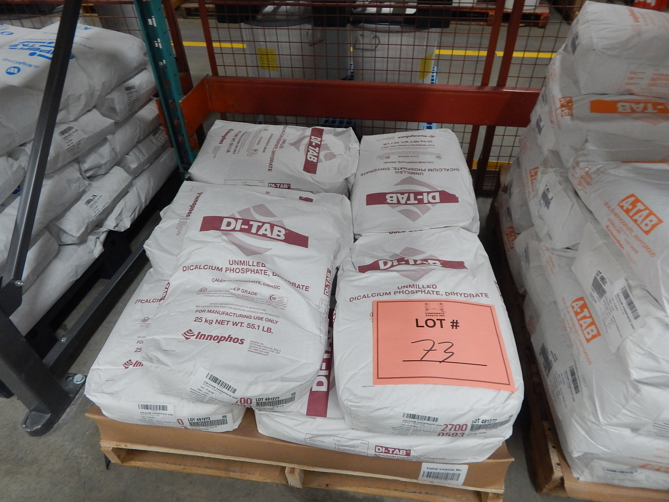 Lot 73 - LOT/ SKID WITH CONTENTS CONSISTING OF 25KG BAGS OF CALCIUM PHOSPHATE