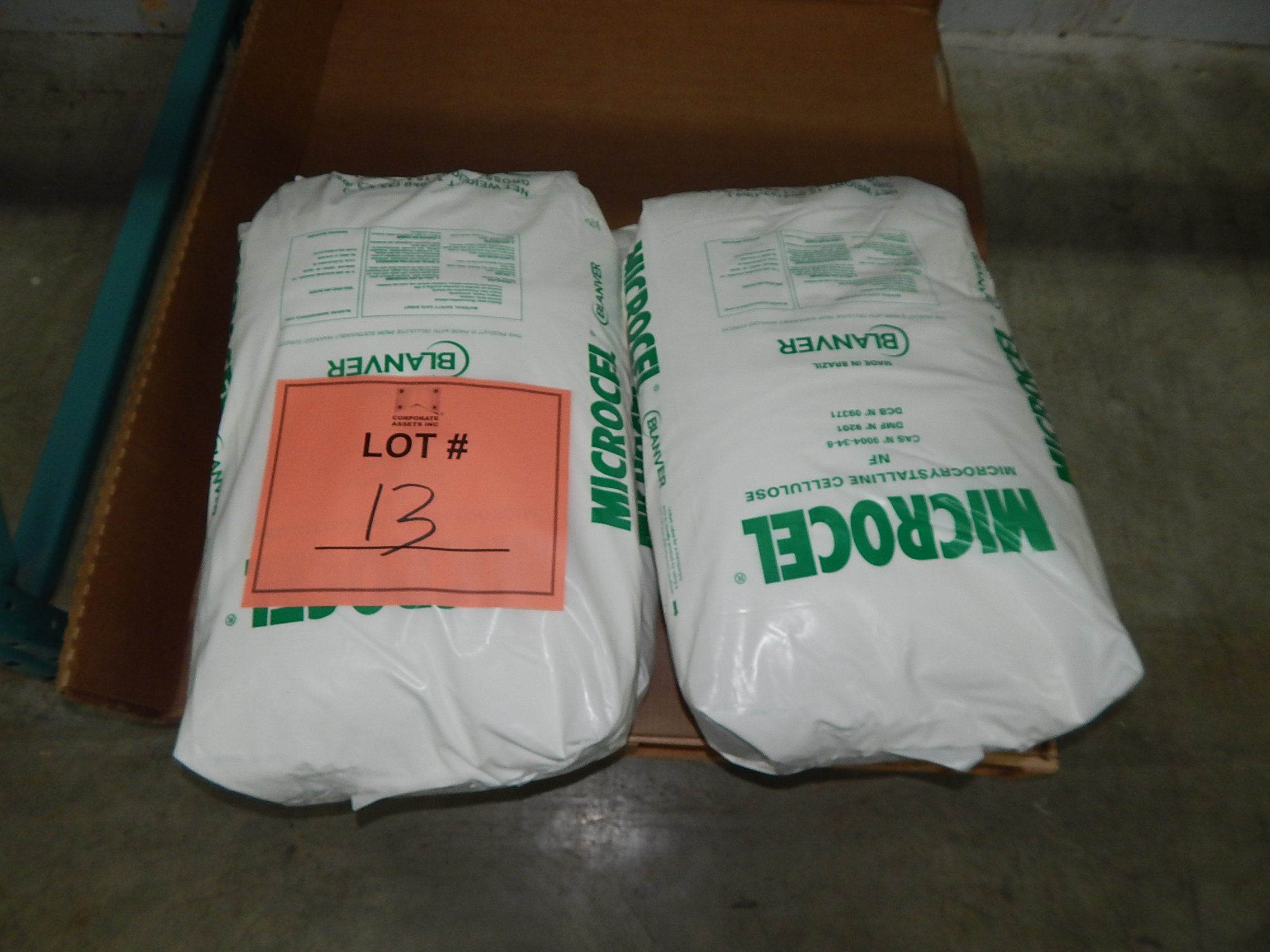 Lot 13 - LOT/ SKID WITH CONTENTS CONSISTING OF 33LBS BAGS OF MICROCEL MICROCRYSTALLINE CELLULOSE