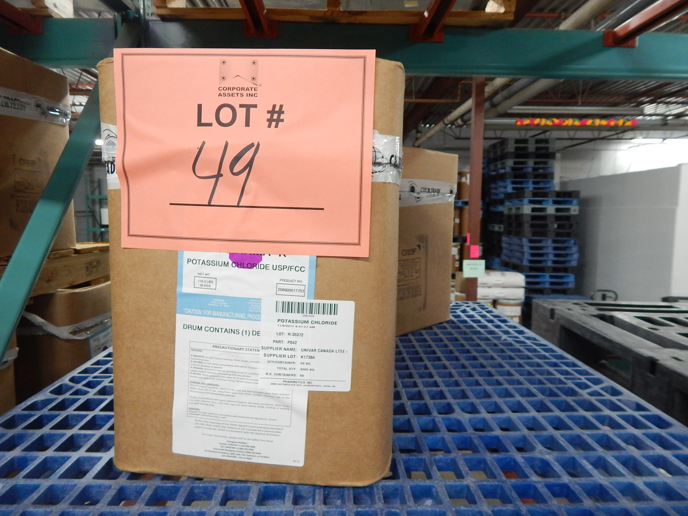 Lot 49 - LOT/ SKID WITH CONTENTS CONSISTING OF BOXES OF POTASSIUM CHLORIDE