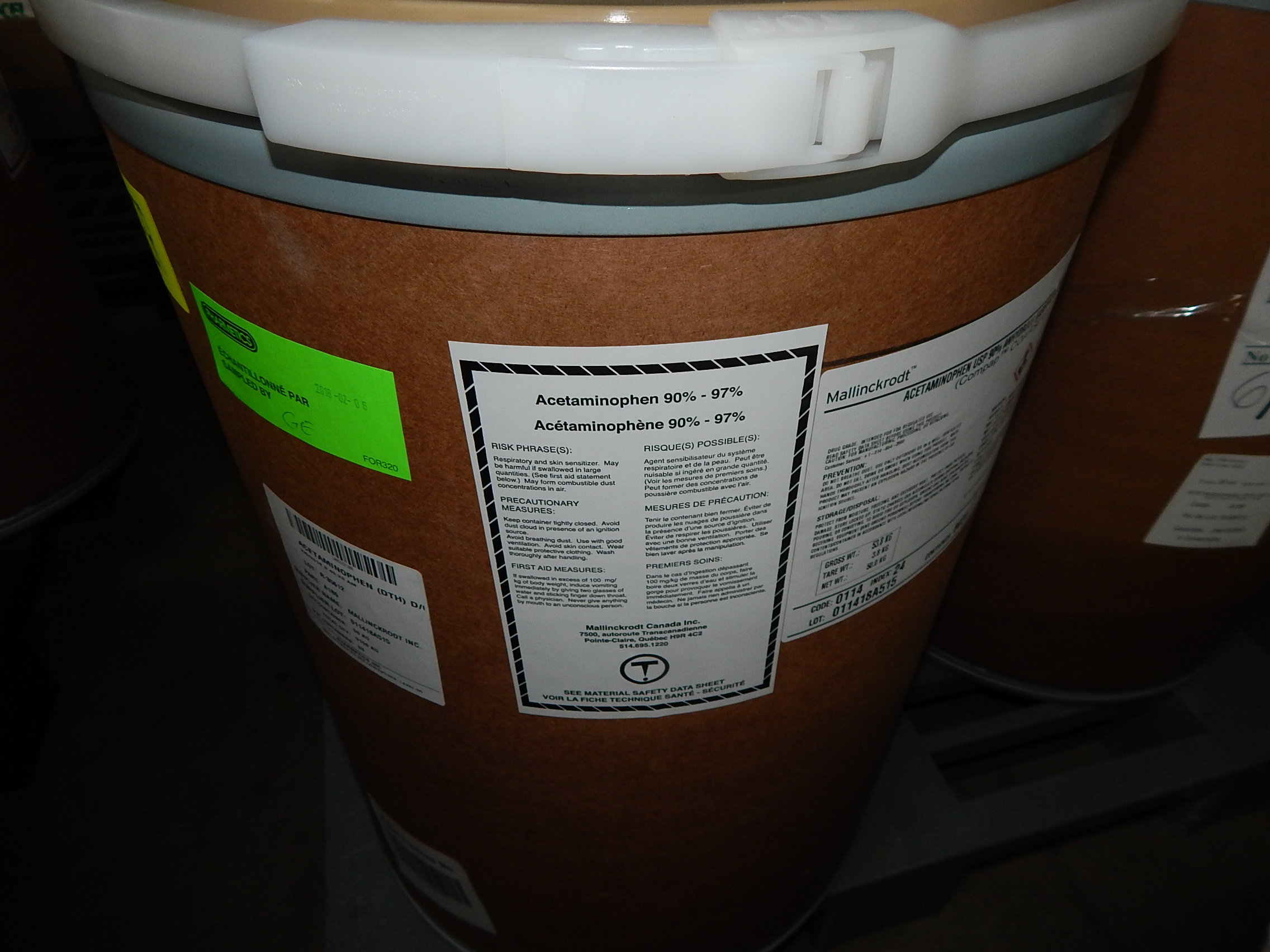Lot 86 - LOT/ SKID WITH CONTENTS CONSISTING OF 50KG DRUMS OF ACETAMINOPHEN