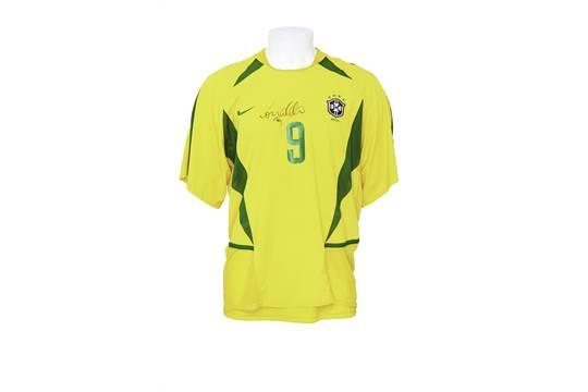 0110a92cd78 A Nike brand 2002 Brazil national football team jersey match worn by ...