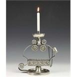 Lot 2398A - Zuid Europese of koloniale zilveren kandelaar, 19e eeuw, met gedreven rozetten en gevlochten rand,