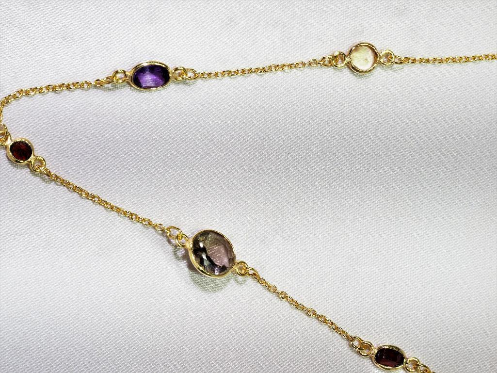 Lot 28 - 10Kt. Gold Plated Sterling Silver Necklace With Genuine Citrine, Garnet, Blue Topaz, Etc., Retail $4