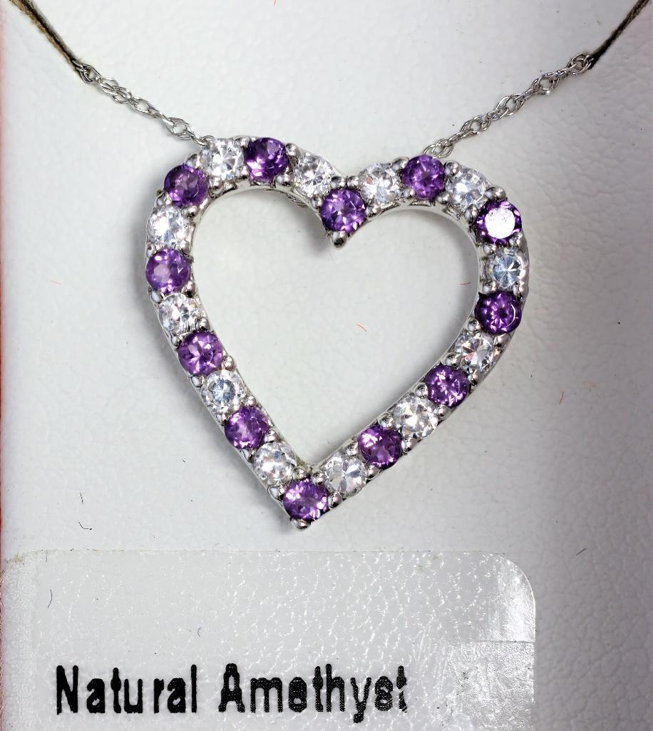 Lot 24 - Sterling Silver Heart Shaped Necklace Wth Genuine Amethyst, Retail $120