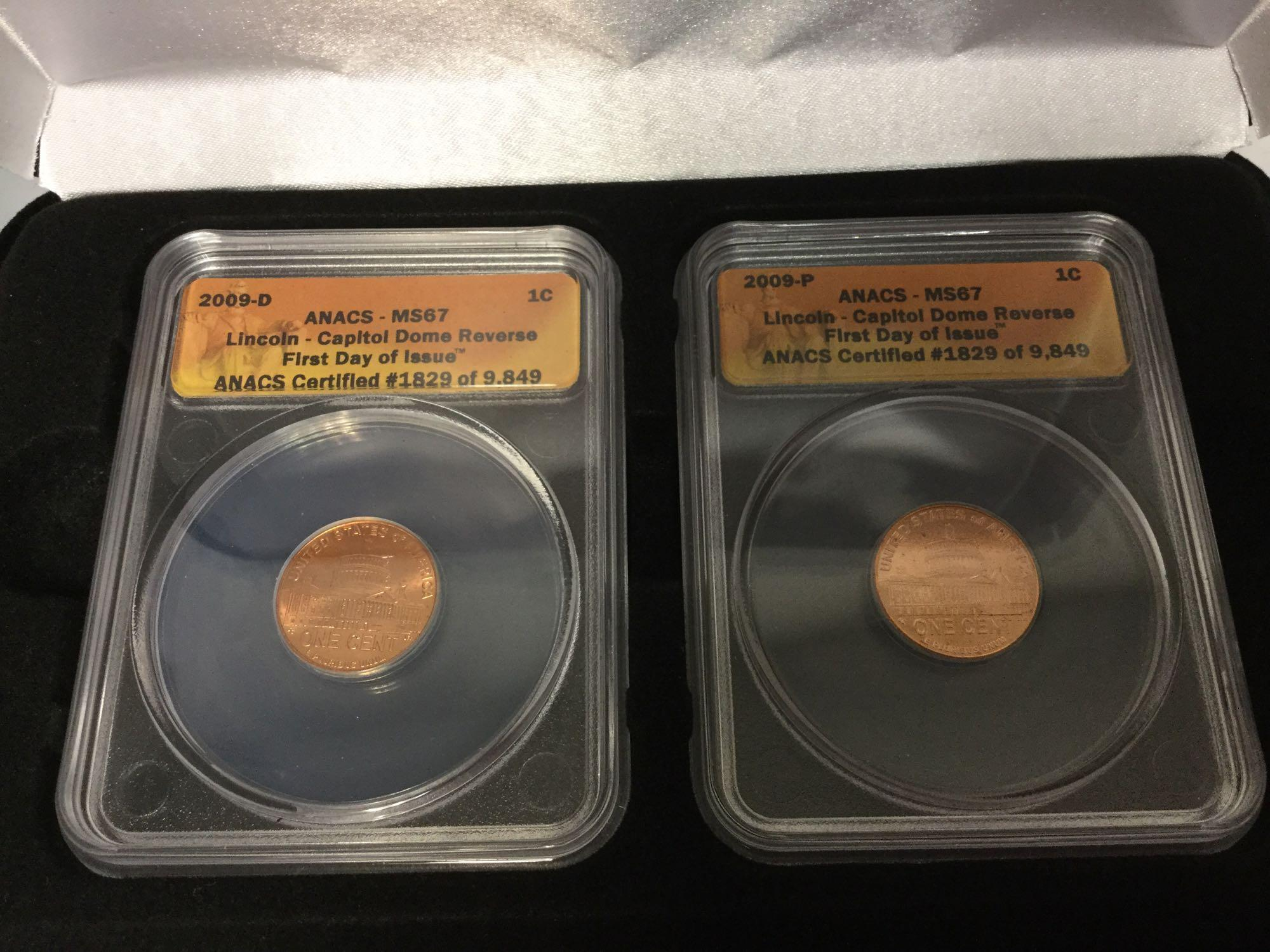 Lot 38 - Lot of 2 in one case - US Mint - 2009 penny