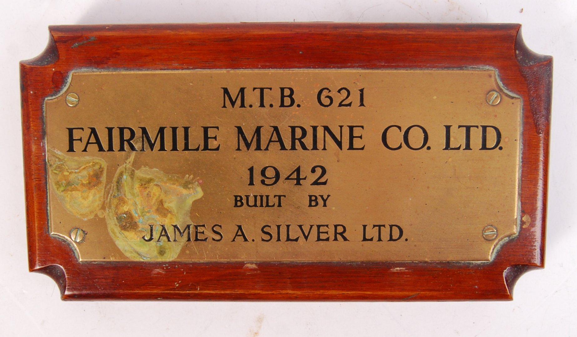 Lot 45 - RARE FAIRMILE MARINE WWII MOTOR TORPEDO BOAT MAKER'S PLAQUE