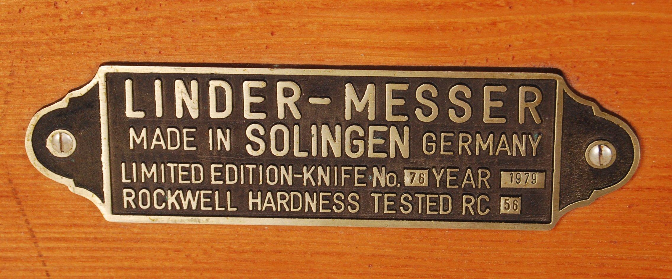 Lot 25 - THE ALAMO BOWIE KNIFE - LINDER MESSER SOLINGEN BOWIE KNIFE