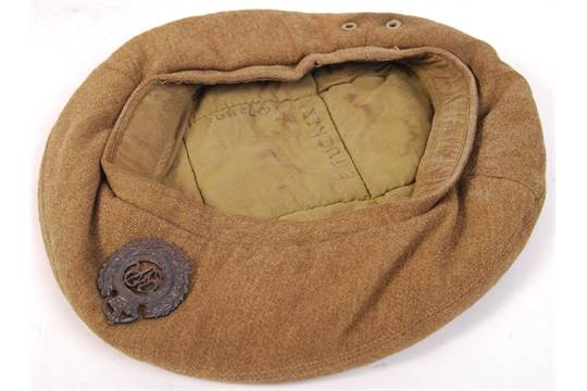 An Original Wwii Second World War Royal Engineers Uniform Beret Cap Complete With Badge To