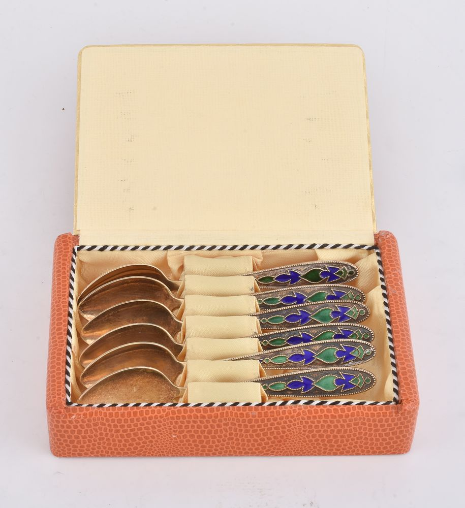 A set of six Soviet Russian silver coloured gilt and cloisonné enamel tea spoons