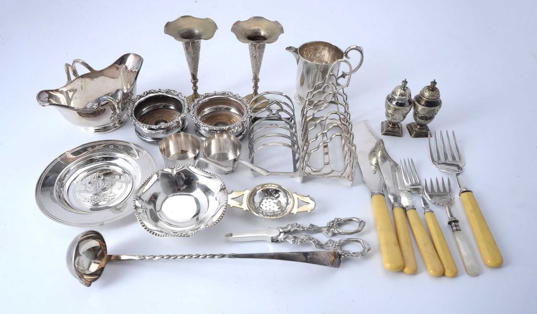 Four silver items and various plated wares