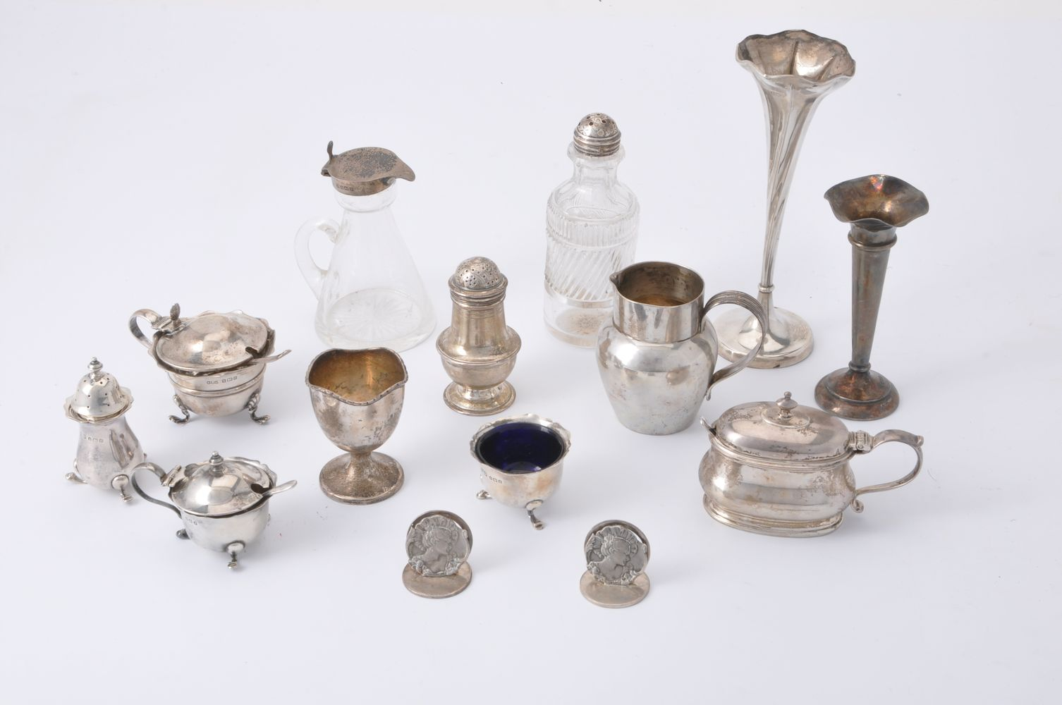 A collection of small silver