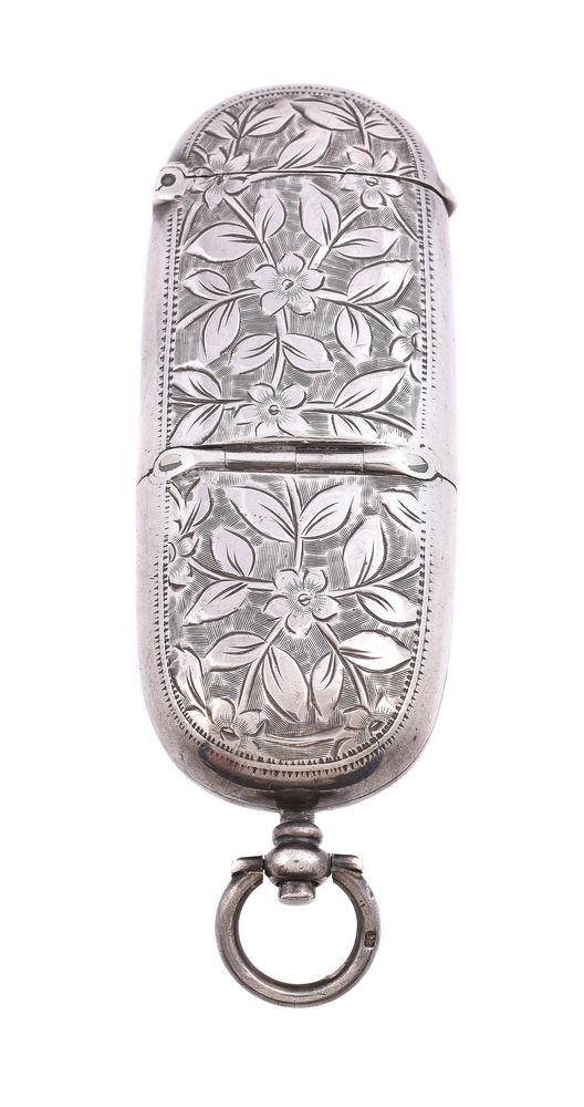 A late Victorian silver oblong combination sovereign and vesta case by A. & J. Zimmerman