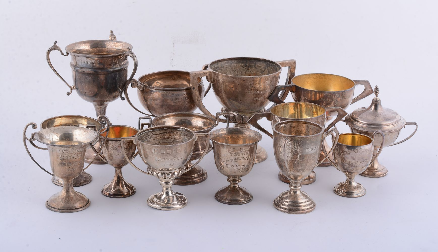 Twelve silver or silver coloured trophy cups