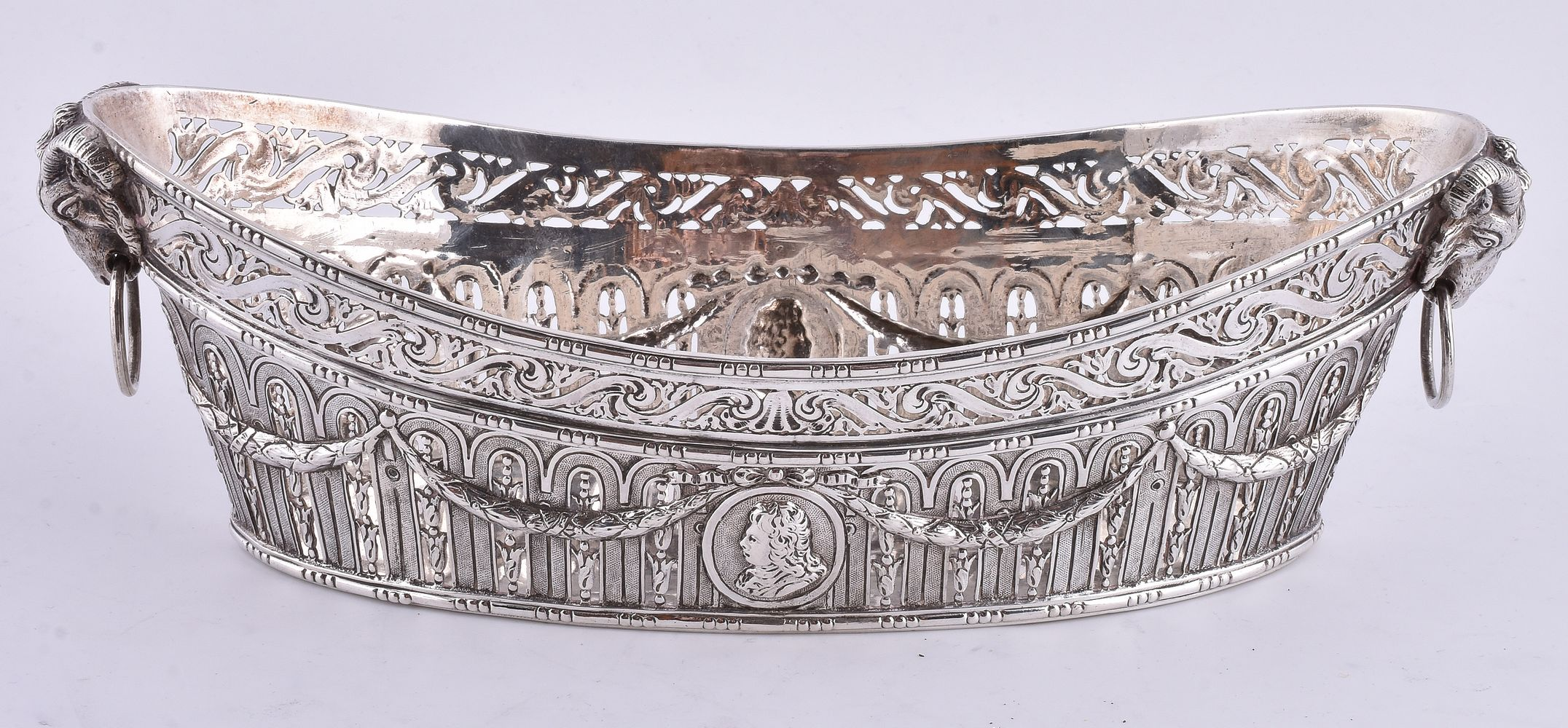 A late 19th century silver navette shaped basket by Wolf & Knell