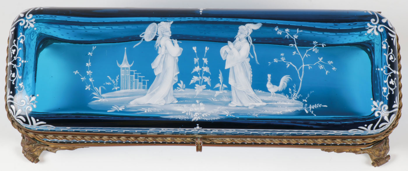 A MARY GREGORY GLOVE BOX, C. 1890