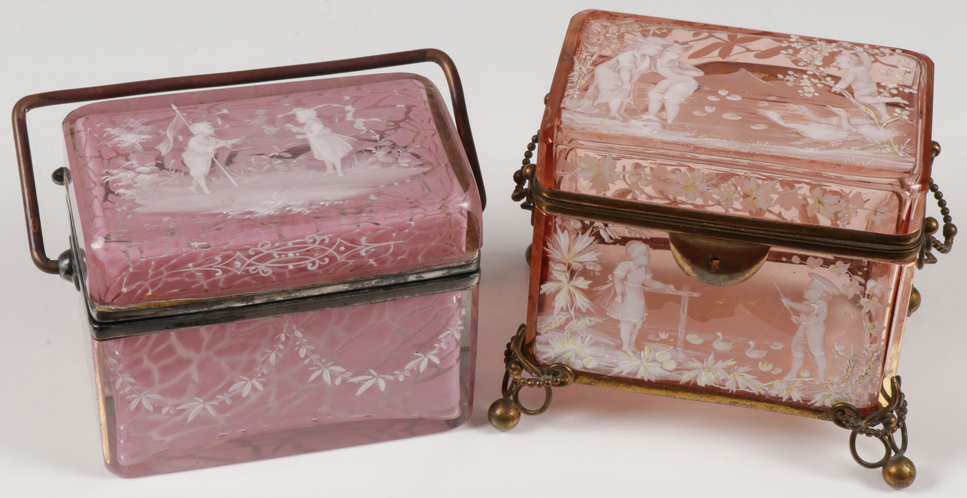 A PAIR OF MARY GREGORY BOXES - Image 2 of 2