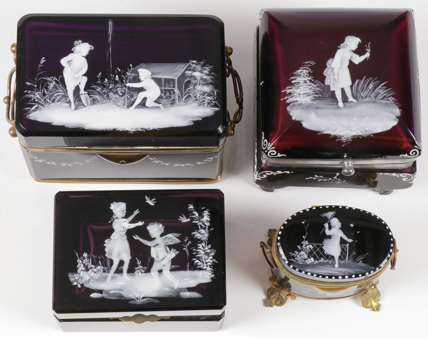 FOUR MARY GREGORY AMETHYST BOXES, C. 1880