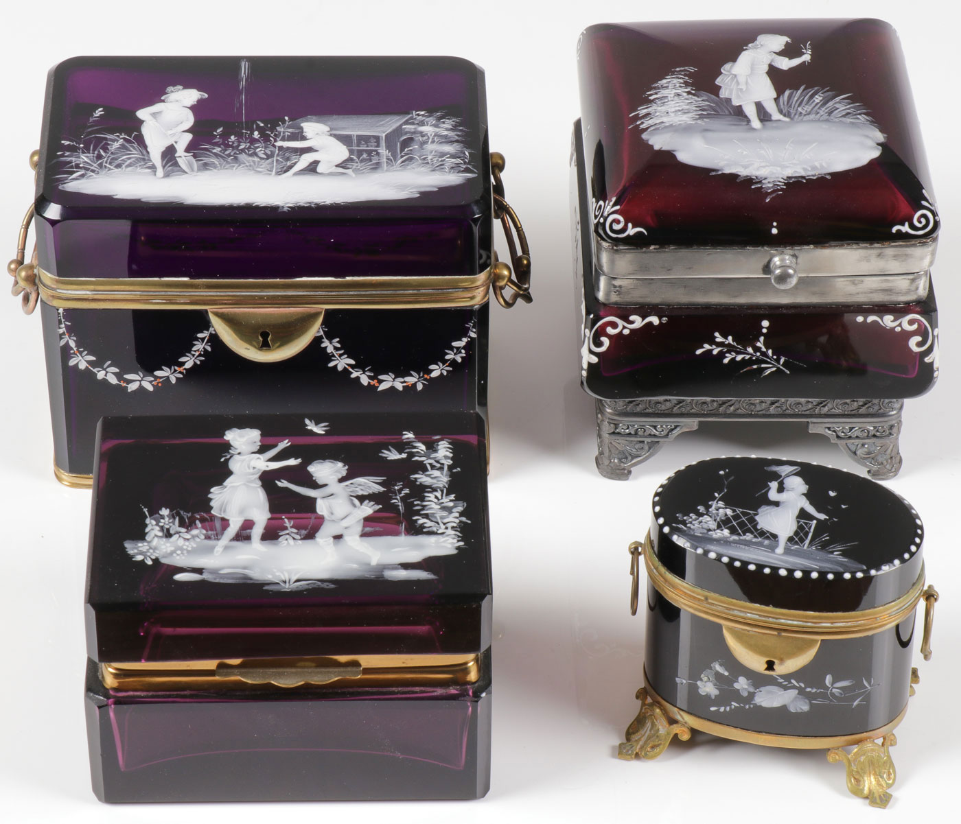 FOUR MARY GREGORY AMETHYST BOXES, C. 1880 - Image 2 of 2