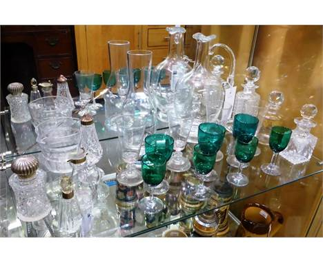A silver mounted whisky noggin, H B Johnson & Co, Birmingham, 1912, together with white metal mounted cut glass jars; Geo