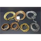 Three Bronzo Italia Multi Layer Tubogas set including bracelet, necklace and cuff in bronze, gold