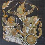 Contemporary Thai artist, warrior on a chariot (Dwarapala?), gutta pigments on bue silk, framed