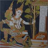 Contemporary Thai artist, Shiva and Dwarapala?, gutta pigments on blue silk, framed and glazed, 60 x
