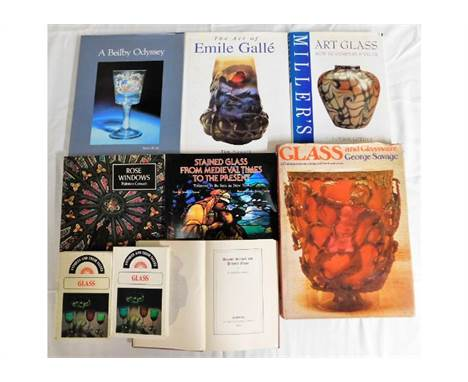 A quantity of 9 books relating to glassware including Emile Galle