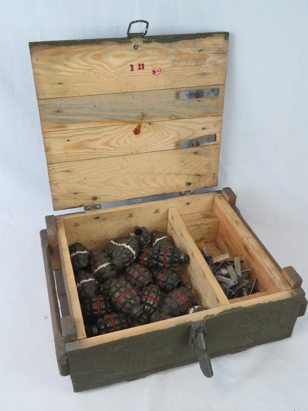 Lot 12 - Twenty inert Soviet F1 Limonka practice Pineapple Grenades with screw in fuses,
