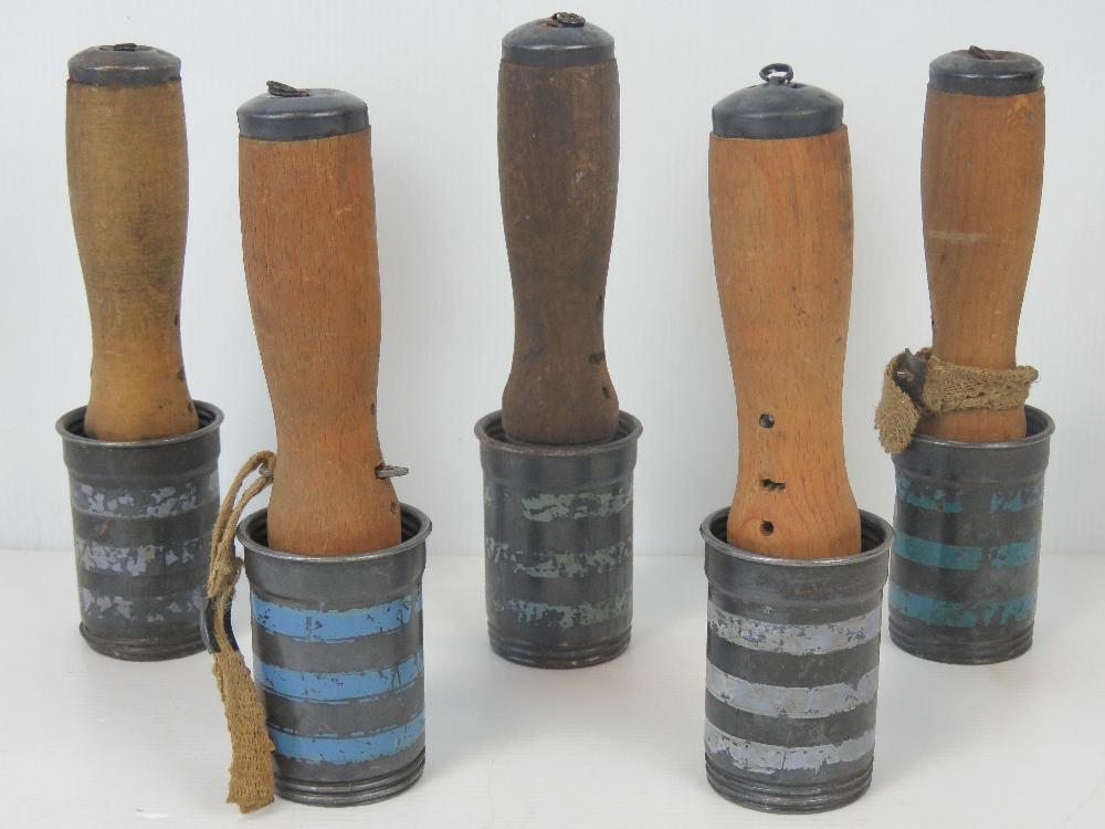 Lot 60 - Five Hungarian M42 inert practice grenades.