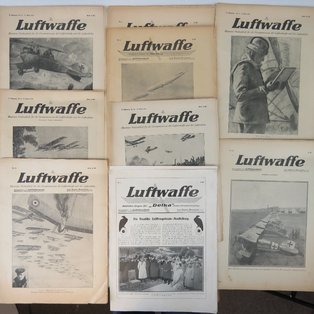 Lot 55 - Nine WWI German Luftwaffe magazines dated 1918 including adverts and interviews with pilots.