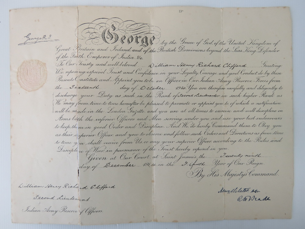Lot 29 - A WWI 1914 Indian Army Officers commission certificate,