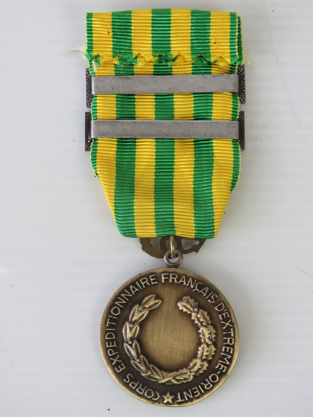 Lot 5 - A French Indo-China (Dien Bien Phu) medal c1954 with ribbon, non-sate issued private manufacture.
