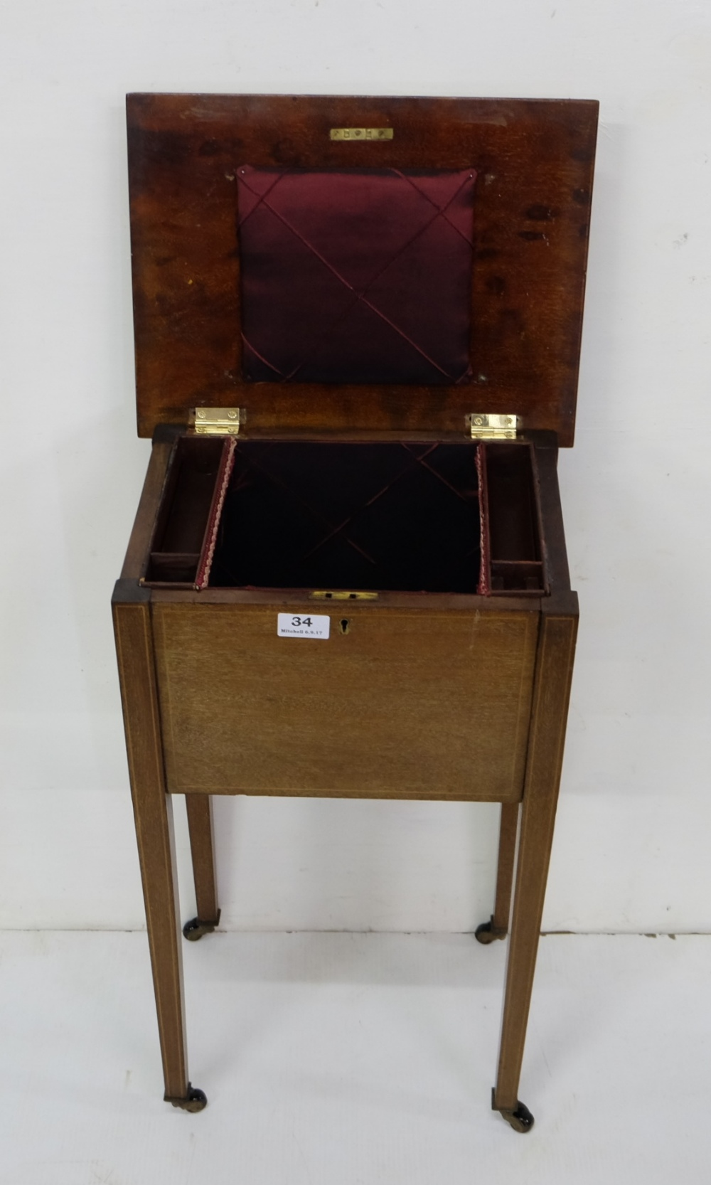 "Lot 34 - Edwardian Mahogany Sewing Box, with a hinged lid, on tapered legs, 26""h x 15""w"